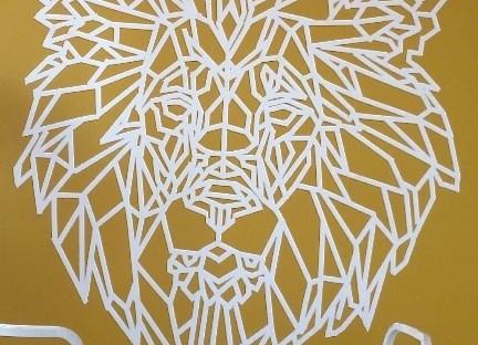 Lion, géométrique, masking tape, tuto, déco, dit, moutarde, peinture